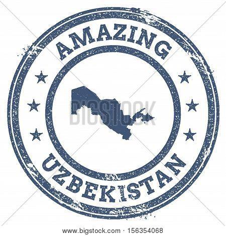 Vintage Amazing Uzbekistan Travel Stamp With Map Outline. Uzbekistan Travel Grunge Round Sticker.