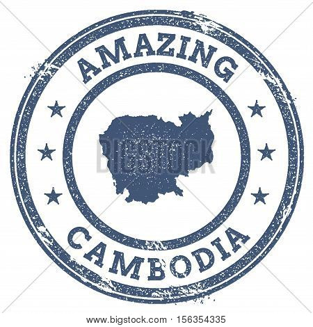 Vintage Amazing Cambodia Travel Stamp With Map Outline. Cambodia Travel Grunge Round Sticker.