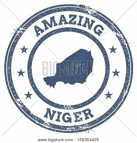 Vintage Amazing Niger Travel Stamp With Map Outline. Niger Travel Grunge Round Sticker.
