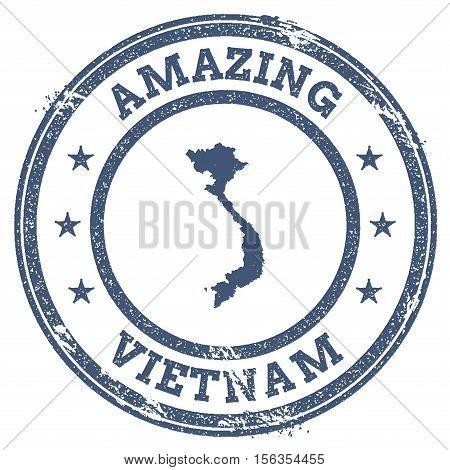 Vintage Amazing Vietnam Travel Stamp With Map Outline. Vietnam Travel Grunge Round Sticker.