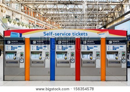 London UK - October 18 2016 - Self-service tickets machines at Waterloo train station
