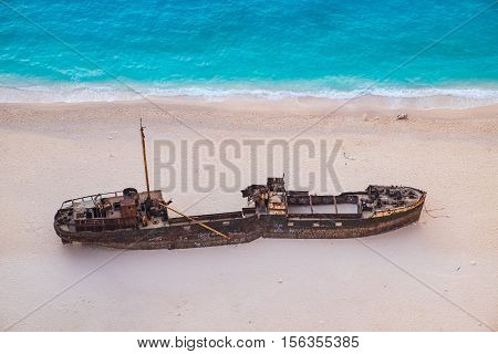 Detail Aerial View Of Shipwreck On Navagio Beach, Zakynthos