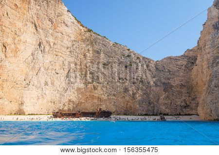Shipwreck Beach, Zakynthos - September 3, 2016: Crowds Of People On Famous Shipwreck Beach, Zakyntho