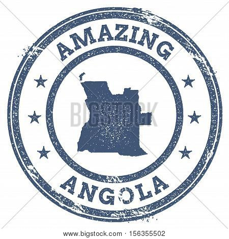 Vintage Amazing Angola Travel Stamp With Map Outline. Angola Travel Grunge Round Sticker.