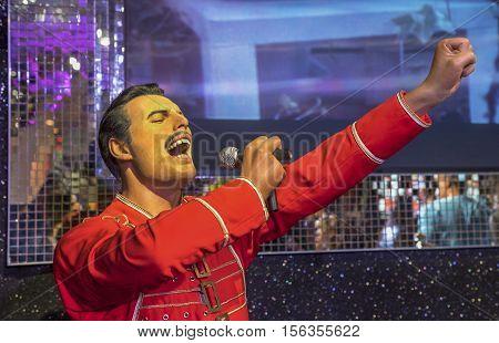 London, the UK - May 2016:  Freddie Mercury wax figure in Madame Tussaud museum