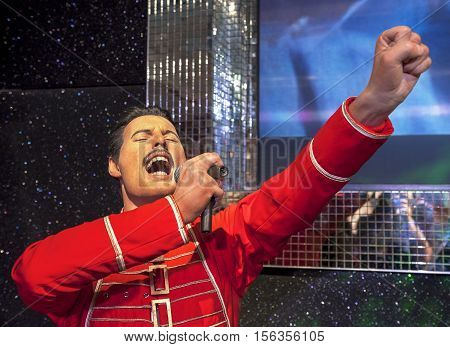 London, the UK - May 2016:  Freddie Mercury wax figure in Madame Tussaud museum