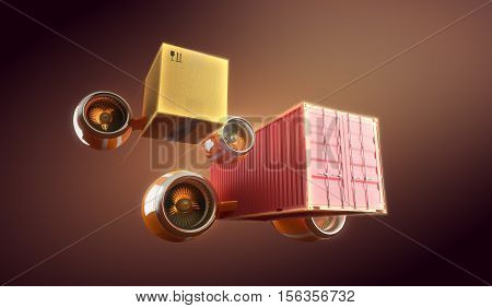 Cargo and container urgent trucking and shipping, Local delivery and worldwide transportation. 3d illustration