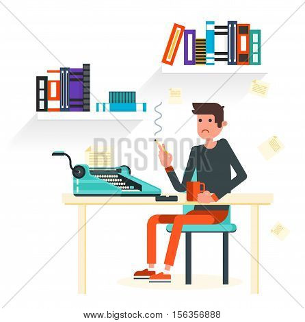 Writer sits by the table and writing a new story. Retro vintage style. Indoor illustration. Vector flat design. Flat character - writer.
