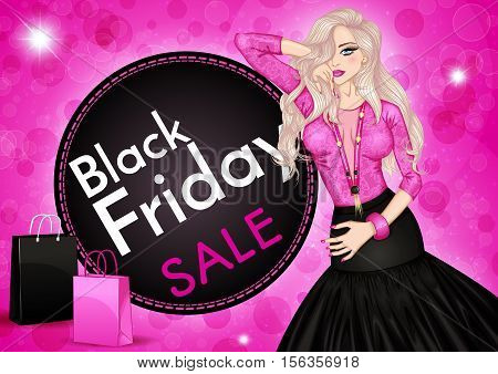 Glamour vector illustration of a fashion woman and shopping bags on a pink background. Black friday sale banner template.Design for Christmas sale, shopping, retail, discount  poster