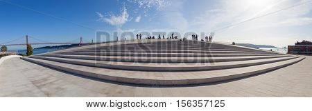 Lisbon, Portugal - October 31, 2016: The rooftop of the MAAT - Museum of Art, Architecture and Technology. Open since October 5th. Designed by the British architect Amanda Levete