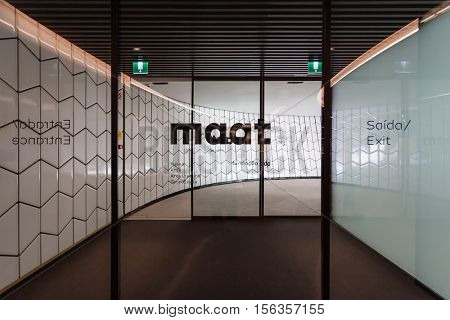Lisbon, Portugal - October 31, 2016: Entrance doors of the MAAT - Museum of Art, Architecture and Technology. Open since October 5th. Designed by the British architect Amanda Levete