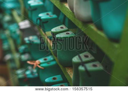collection of a colored boot expanders. side view and selective focus