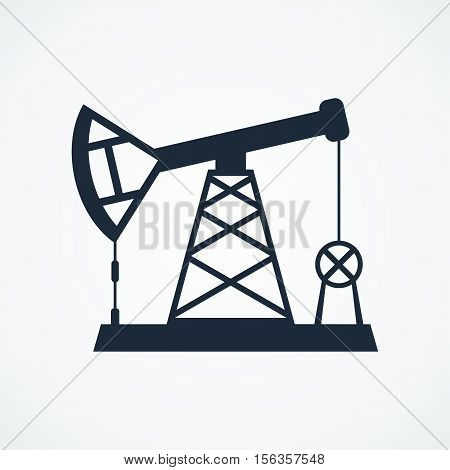 Oil derrick black icons. Flat vector cartoon Oil derrick illustration. Objects isolated on a white background.