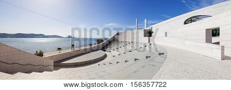Lisbon, Portugal - October 31, 2016:  Amphitheatre with a view over the Tagus River on the Champalimaud Foundation premises - Centre for the Unknown. Biomedical private research center.