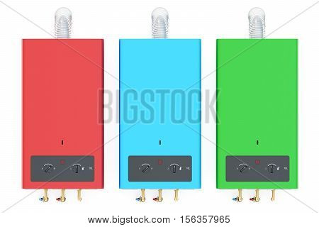 Set of colored home gas boilers water heaters. 3D rendering isolated on white background