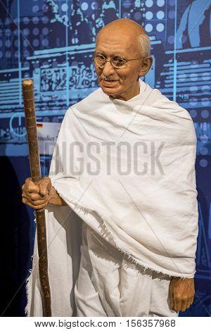 London, the UK - May 2016:  Mahatma Gandhi wax figure in Madame Tussaud museum