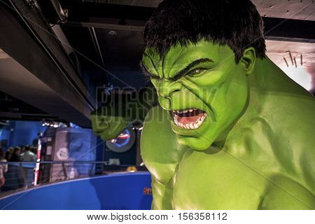 London, the UK - May 2016:  Hulk wax figure in Madame Tussaud museum