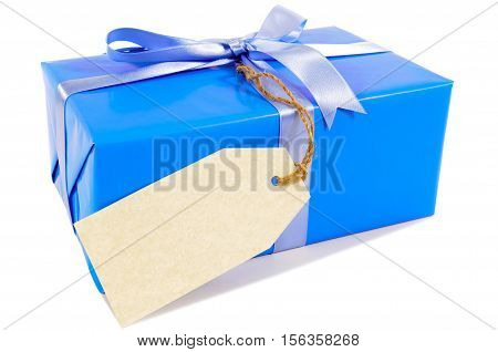 Blue Christmas Or Birthday Gift With Green Ribbon Bow, Gift Tag Or Label Isolated On White Backgroun