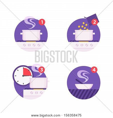 Set cooking instructions icons. Vector icon set