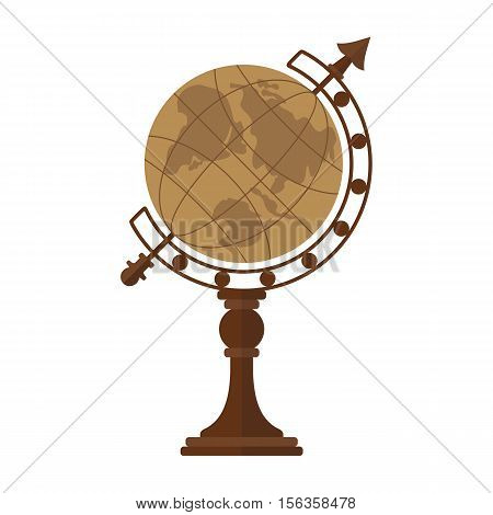 Vintage globe. Flat vector cartoon globe illustration. Objects isolated on a white background.