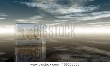 number one hundred in glass cube under cloudy sky - 3d rendering