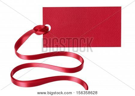 Price Tag Ticket Or Label With Red Ribbon Isolated On White Background