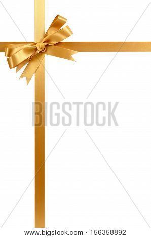 Gold Gift Ribbon Bow Vertical Top Corner Border Frame Isolated On White.