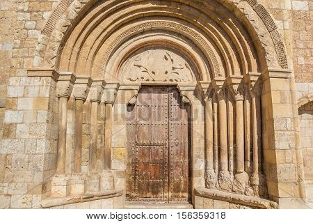 Entrance To The Iglesia De San Miguel Church In Daroca