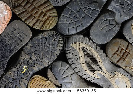 soled shoes objects group backgrounds equipment old  abstract structure