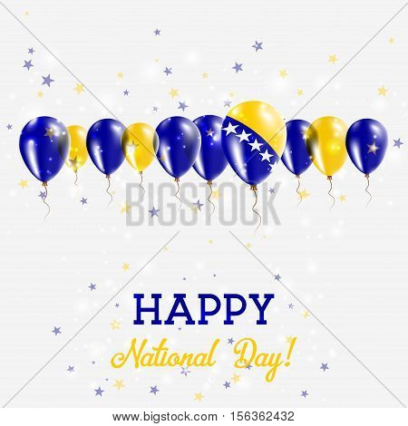 Bosnia And Herzegovina Independence Day Sparkling Patriotic Poster. Happy Independence Day Card With