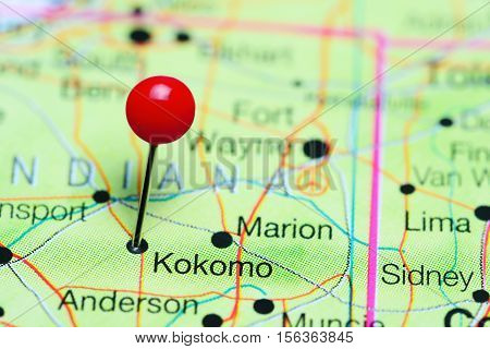 Kokomo pinned on a map of Indiana, USA
