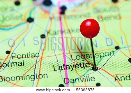 Lafayette pinned on a map of Indiana, USA