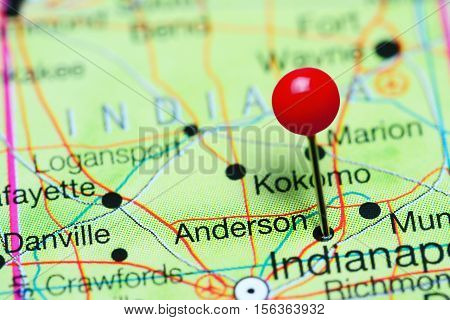 Anderson pinned on a map of Indiana, USA