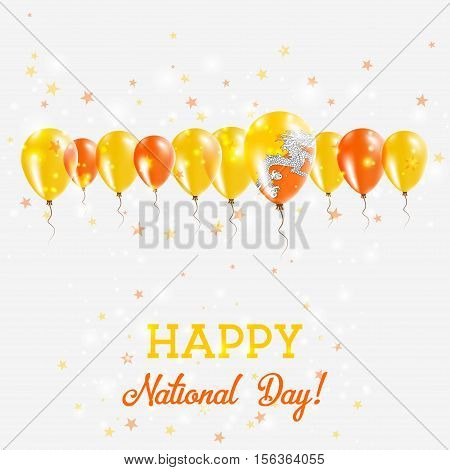 Bhutan Independence Day Sparkling Patriotic Poster. Happy Independence Day Card With Bhutan Flags, C
