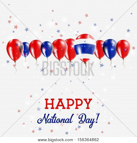 Thailand Independence Day Sparkling Patriotic Poster. Happy Independence Day Card With Thailand Flag