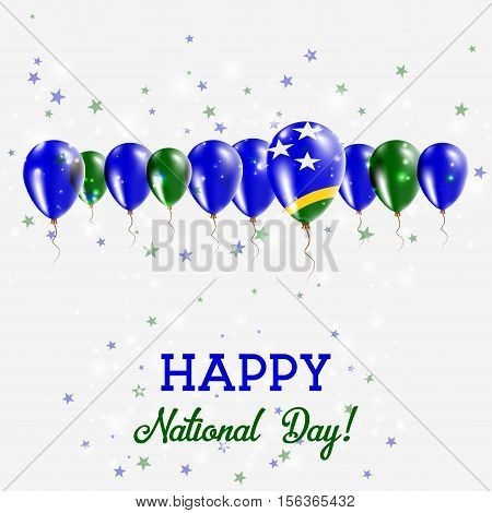 Solomon Islands Independence Day Sparkling Patriotic Poster. Happy Independence Day Card With Solomo