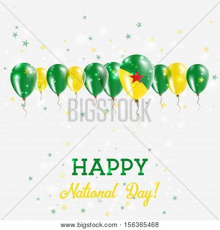 French Guiana Independence Day Sparkling Patriotic Poster. Happy Independence Day Card With French G