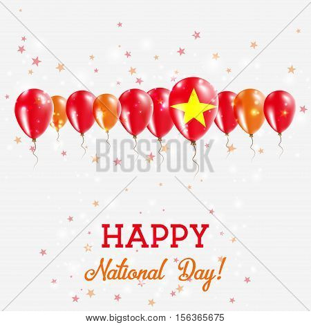 Vietnam Independence Day Sparkling Patriotic Poster. Happy Independence Day Card With Vietnam Flags,