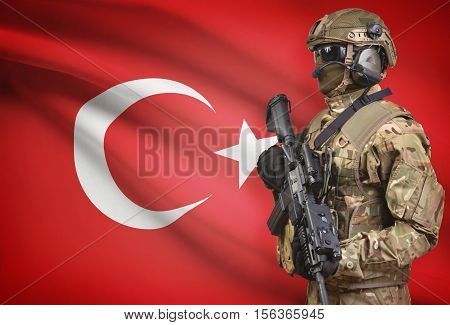 Soldier In Helmet Holding Machine Gun With Flag On Background Series - Turkey