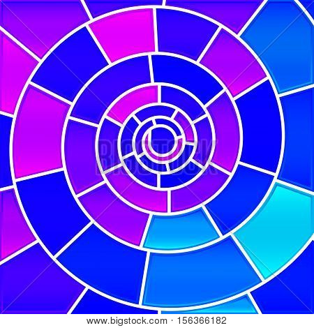 abstract vector stained-glass mosaic background - blue and violet spiral