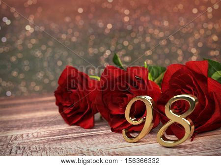 birthday concept with red roses on wooden desk. 3D render - ninety-eighth birthday. 98th