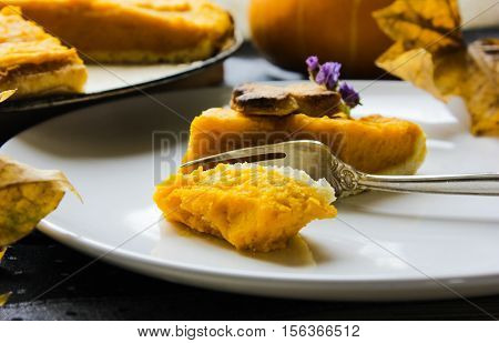 American pumpkin pie. Thanksgiving Day. a piece of cake. shortcrust pastry. flan.
