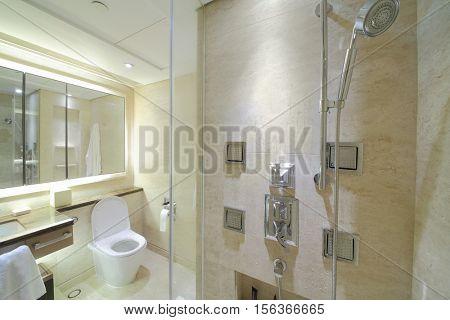 SHANGHAI - NOV 05, 2015: Empty modern bathroom in apartments of IFC Residence hotel