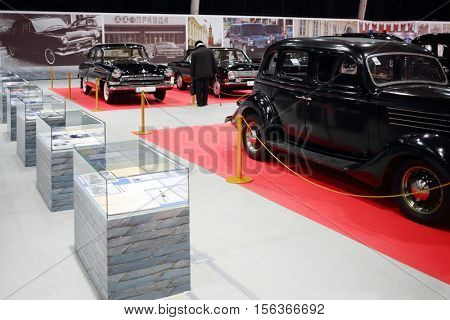 MOSCOW - MAR 07, 2016: Soviet retro cars on exhibition Oldtimer-Gallery in Sokolniki Exhibition Center. It is only one in Russia exhibition of vintage cars and technical antiques