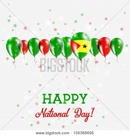 Sao Tome And Principe Independence Day Sparkling Patriotic Poster. Happy Independence Day Card With