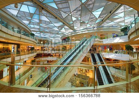 SHANGHAI, CHINA - NOV 7, 2015: (HDR) Modern IFC mall, In Shanghai there is large free-trade zone