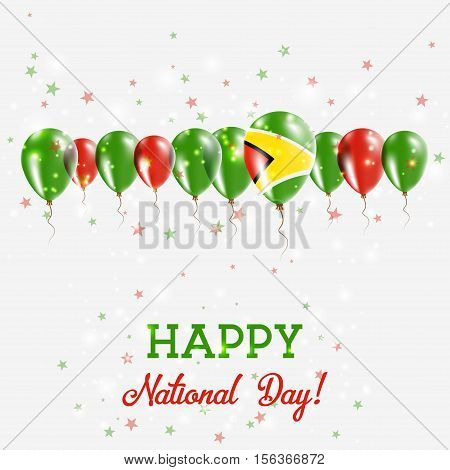 Guyana Independence Day Sparkling Patriotic Poster. Happy Independence Day Card With Guyana Flags, C
