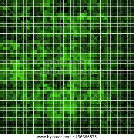 abstract vector square pixel mosaic background - bright green