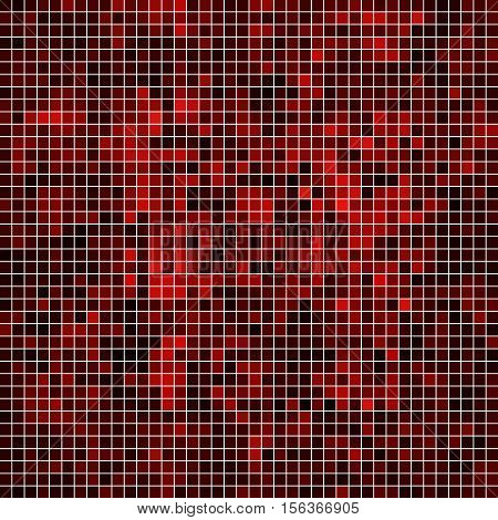 abstract vector square pixel mosaic background - dark red