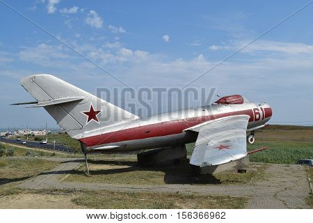 Museum Copy Of The Aircraft. Monument Of Fighter Aircraft.